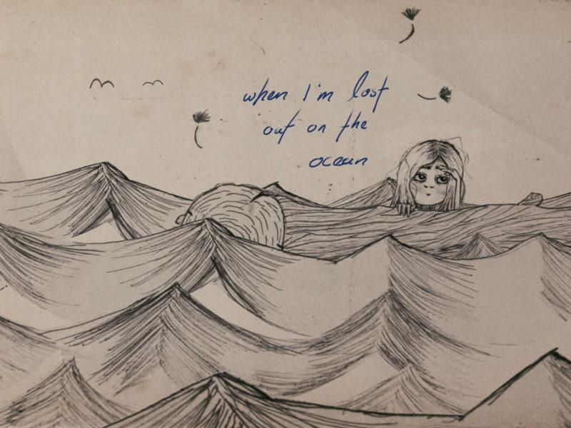 Illustration eines Mädchens, verloren treibend auf dem Ocean.