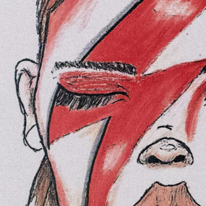 Illustration Segment - Bowie Girl - Close Up - Red - White
