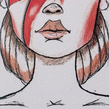 Illustration Segment - Bowie Girl - Lips - hair - Red - White