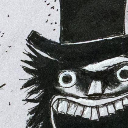 Illustration des Babadook. Teilausschnitt des Gesamtwerks. Man erkennt das Gesicht.