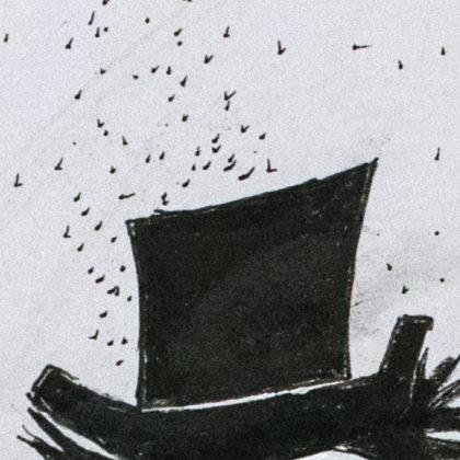 Illustration des Babadook. Teilausschnitt des Gesamtwerks. Man sieht nur den Hut.