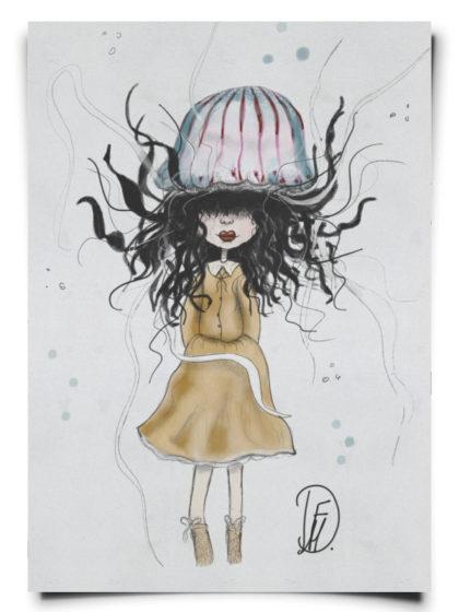 fox_from_mars_illustration_maedchen_mit_qualle_als_hut_papier_hochformat