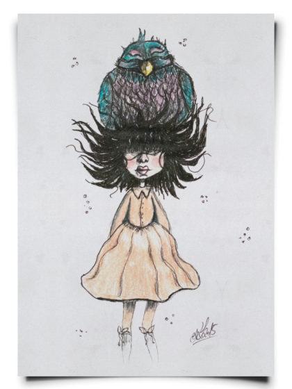 fox_from_mars_illustration_maedchen_mit_vogel_als_hut_papier_hochformat