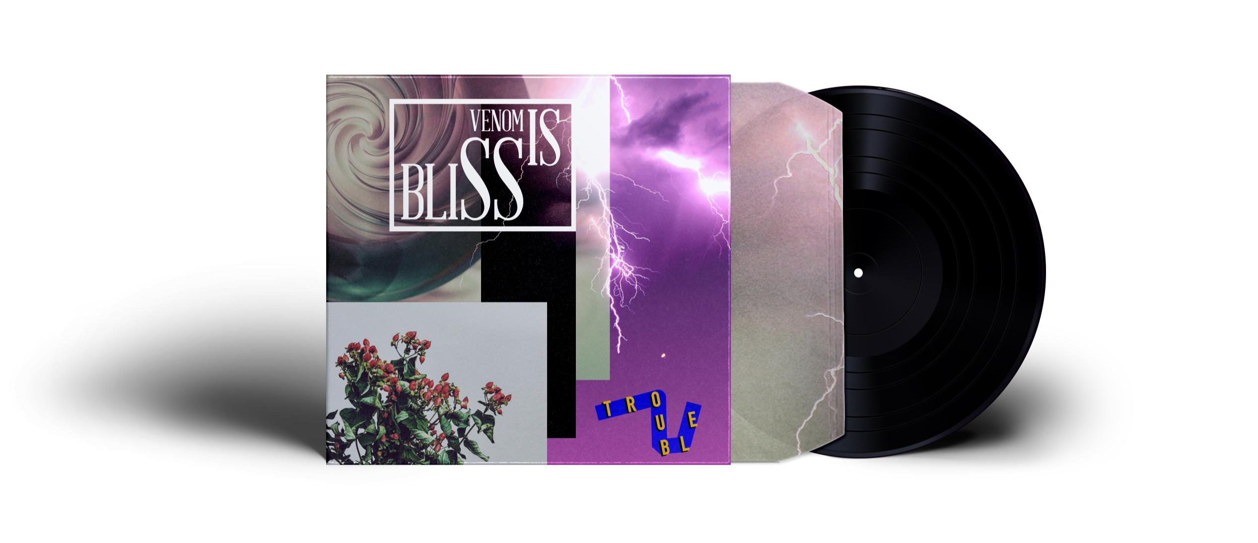 Cover Artwork für die EP Trouble. 3D Graphics gepaart mit Fotos einem lila Himmel und Blitzen